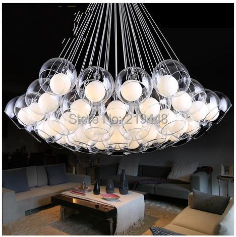 Creative Many Heads Glass Pendant Light Living Room Bedroom Lamp Aisle Bubble Ball Pendant Light Personalized Restaurant Lamps(China (Mainland))