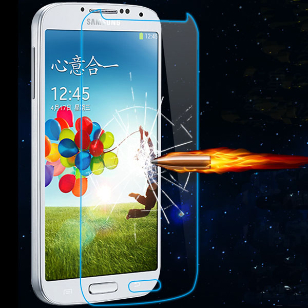 Tempered Glass Clear Front Screen Protector For Samsung Galaxy S4 SIV i9500 Protective Film Package Dirt-Resistant(China (Mainland))