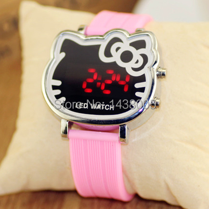 9 colors cute hello kitty watch for girls kids jelly silicone led wristwatch children cartoon watch relogio infantil clock WQ091(China (Mainland))
