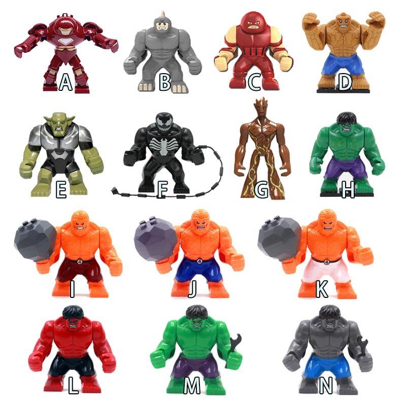 Single Sale 14 Decool Styles Big Size Hulk Thing Venom Hulk buster Green Goblin Groot Building Block Figures Toy For Children(China (Mainland))