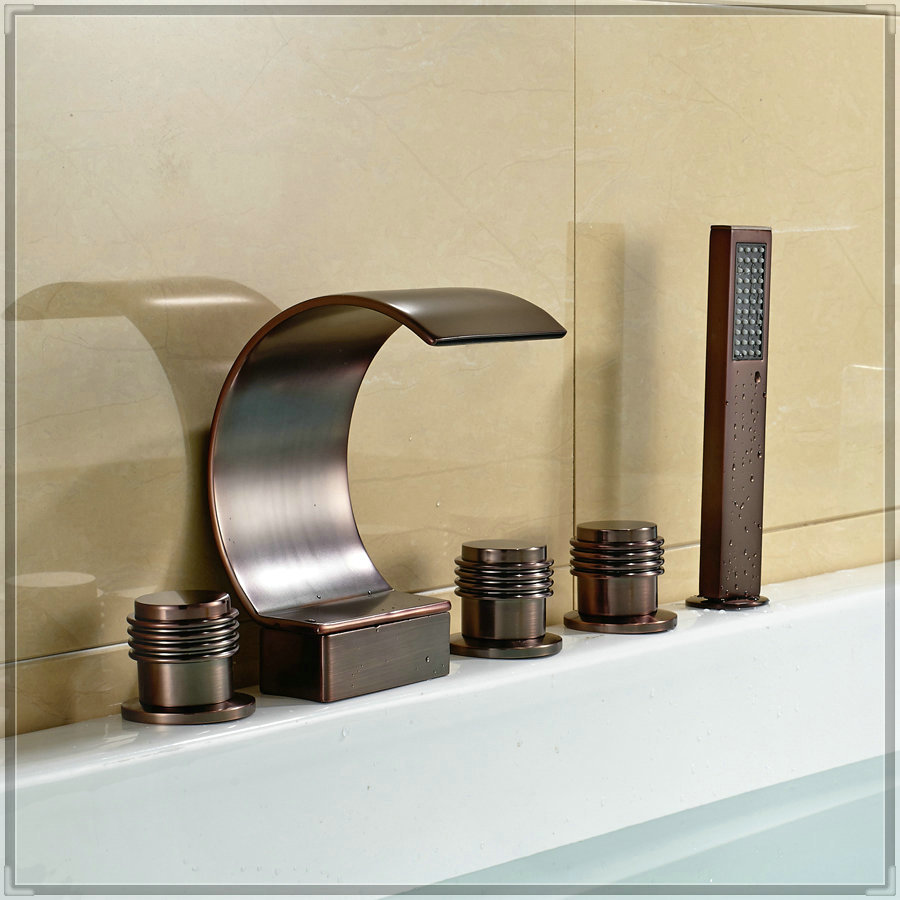 Oil Rubbed Bronze Waterfall Tub Faucet Holes Bath Mixer Tap With Hand Sprayer Wash Tub In Bath