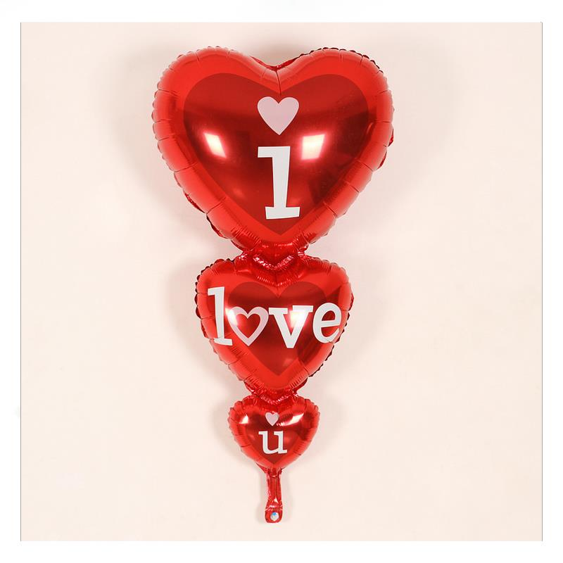 Lucky 1PCS 53*100cm Three Heart Balloons Wedding Decoration Birthday Party Supplies Happy Day I LOVE YOU Heart String Balloon(China (Mainland))