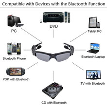 Bluetooth Headset Sunglasses + 8GB Memory card + DV DVR Video Camera + MP3 Player high resolution 200w Mini Camcorders Recorder(China (Mainland))