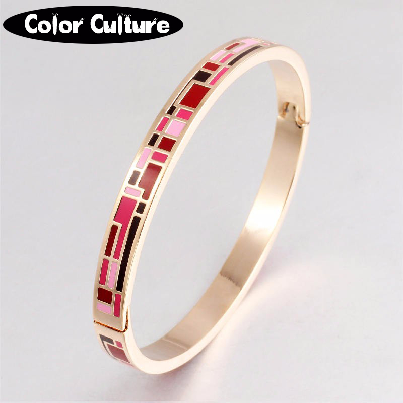 Enamel Jewelry Gold Plated Stainless Steel Bangle Opened for Women Jewelry Bracelet Top Quality Factory Price(China (Mainland))