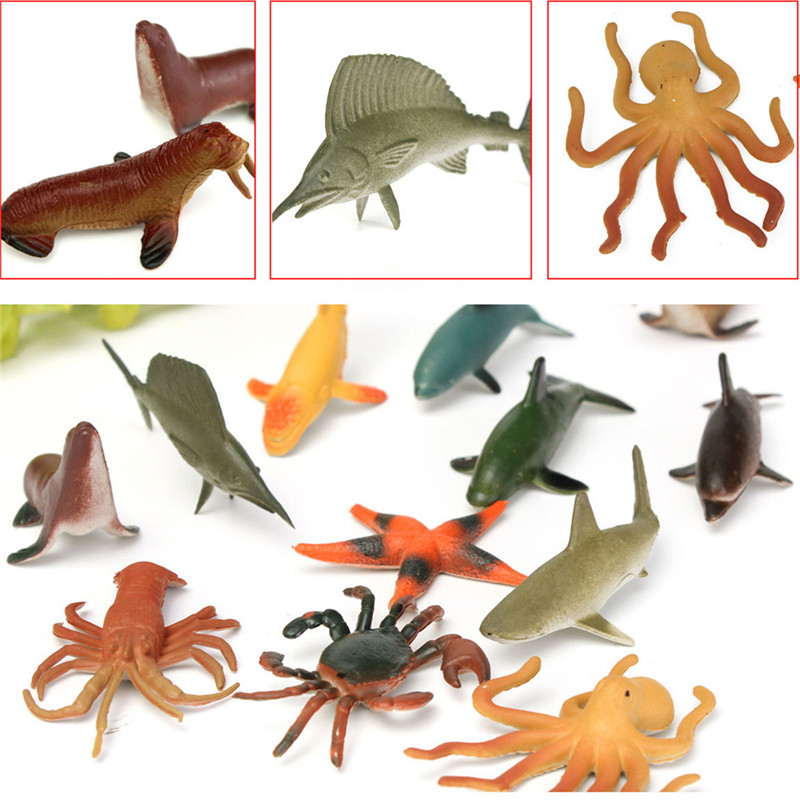 12PCS/Set 4.5-8cm Plastic Marine Animal Figures Ocean Creatures Sea Life Shark Whale Crab Kids Toy(China (Mainland))