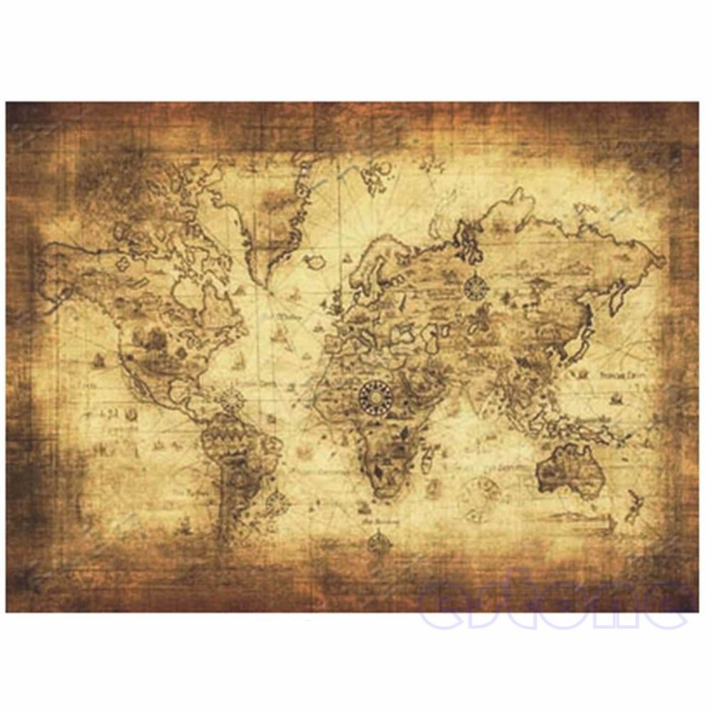 1PC Vintage Style Retro The World Map Home Decor Wall Decals Paper Poster Wall Decor(China (Mainland))