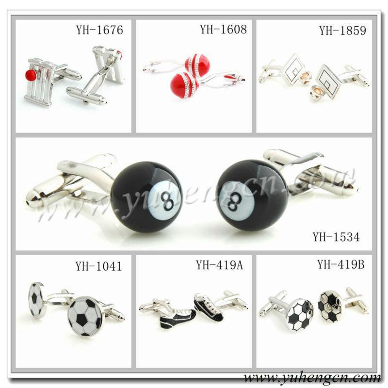 Free shipping YH-1676 Novelty Sports Cufflinks,Cricket Ball,Football,Basketball,Table Tennis Cufflinks - Factory Direct Selling(China (Mainland))