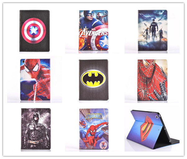 Cartoon Stand tablet case cover for apple ipad 2 3 4 Spider-Man superman Captain America The Avengers Iron Man Batman For kids(China (Mainland))