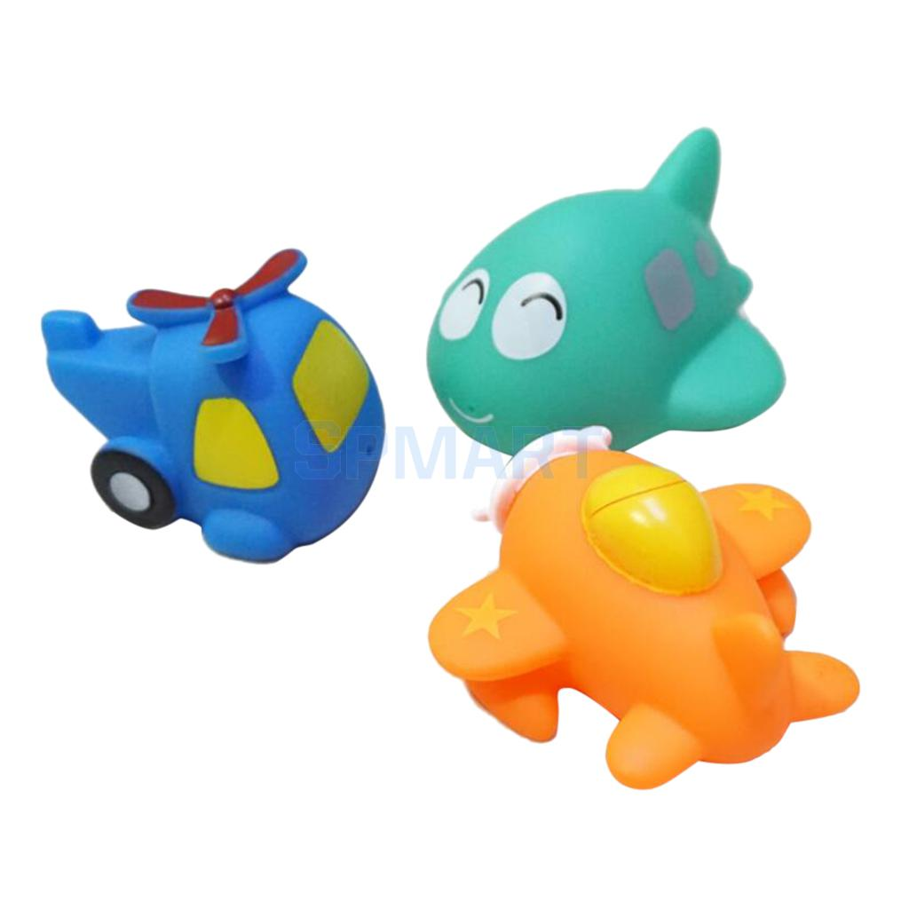 Interesting Cartoon Mini Rubber Airplane Squeaky Bath Toy Squirting Water Floating Spraying Aircraft Toy Kid Gift Pack of 3 Pcs(China (Mainland))