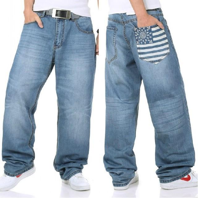 Большие размер джинсы без тары джинсы хип-хоп свободного покроя джинсы широкий ноги ...
