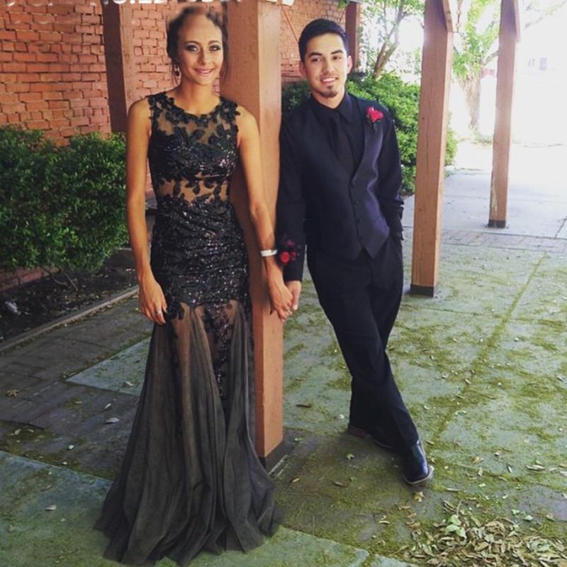 Vestidos де băile scoop-образным вырезом Cap рукавом бисером аппликации смотрите через черное кружево пром платья русалка тюль вечерние платья CGE429