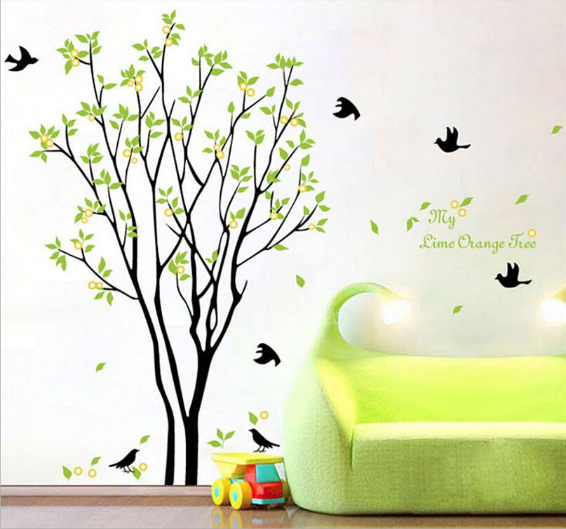 Large Green Tree Flying Black Birds Removable Wall Stickers DIY Wall Art Deco