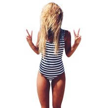 Women Summer Striped Swimsuit Sexy Triangle Low Neck Bandage Bathing Bikini Monokini Beach Swimwear Bodysuit