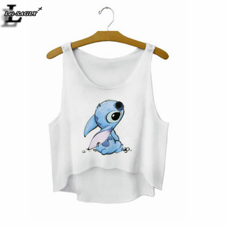 Stitch Cartoon Crop Top Summer Style Tank Top Sexy Fitness Women Tops Cheap Clothes China Cropped Fashion Sport Camisole F727(China (Mainland))