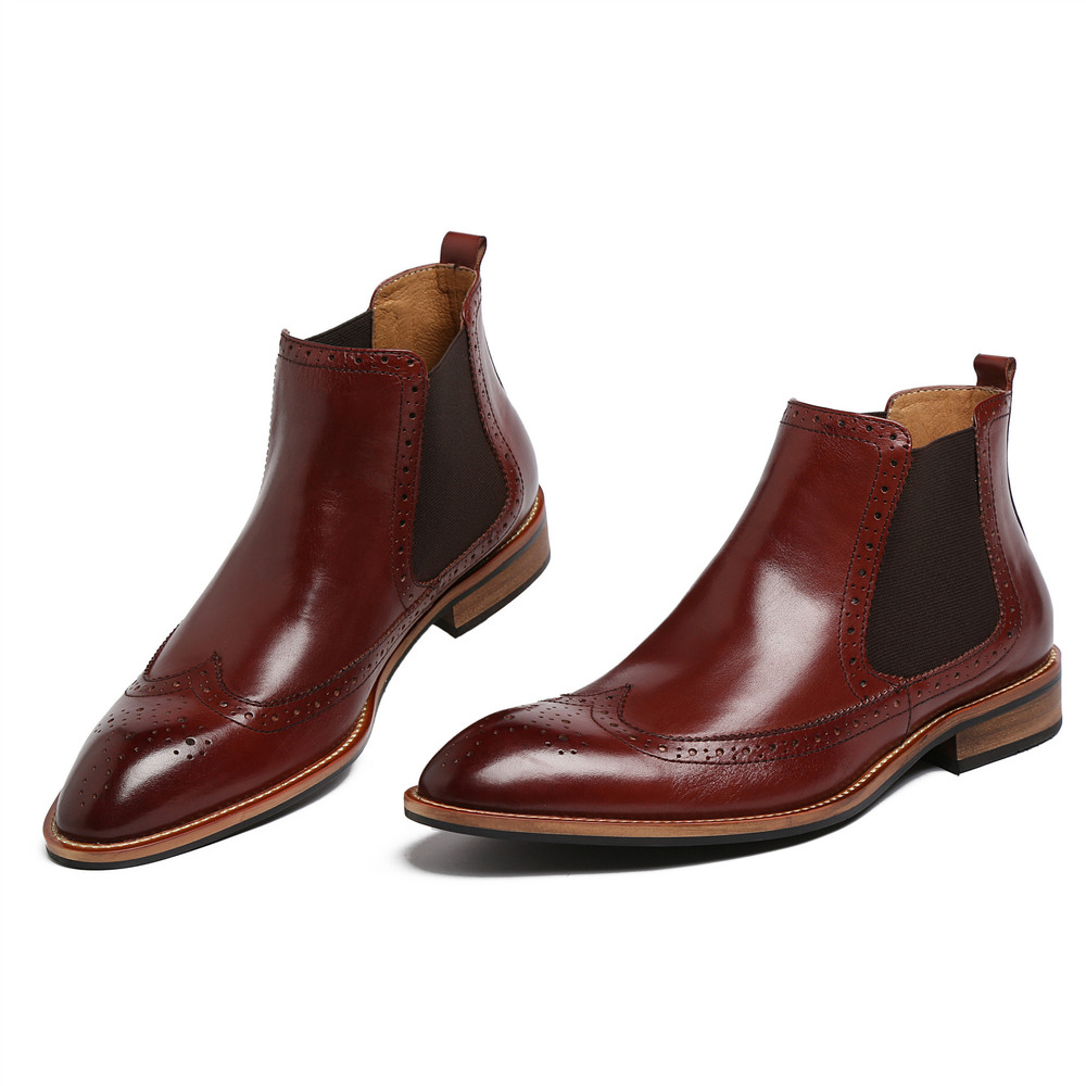2015 European vintage mens casual ankle boots genuine leather black brown wingtip men shoes for wedding party 299(China (Mainland))