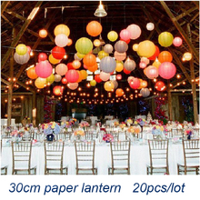 Wholesale (20pcs/lot) 12''(30cm)Free Shipping Chinese Paper Lantern Lamp Festival Wedding Party Decoration White Lanterns New(China (Mainland))