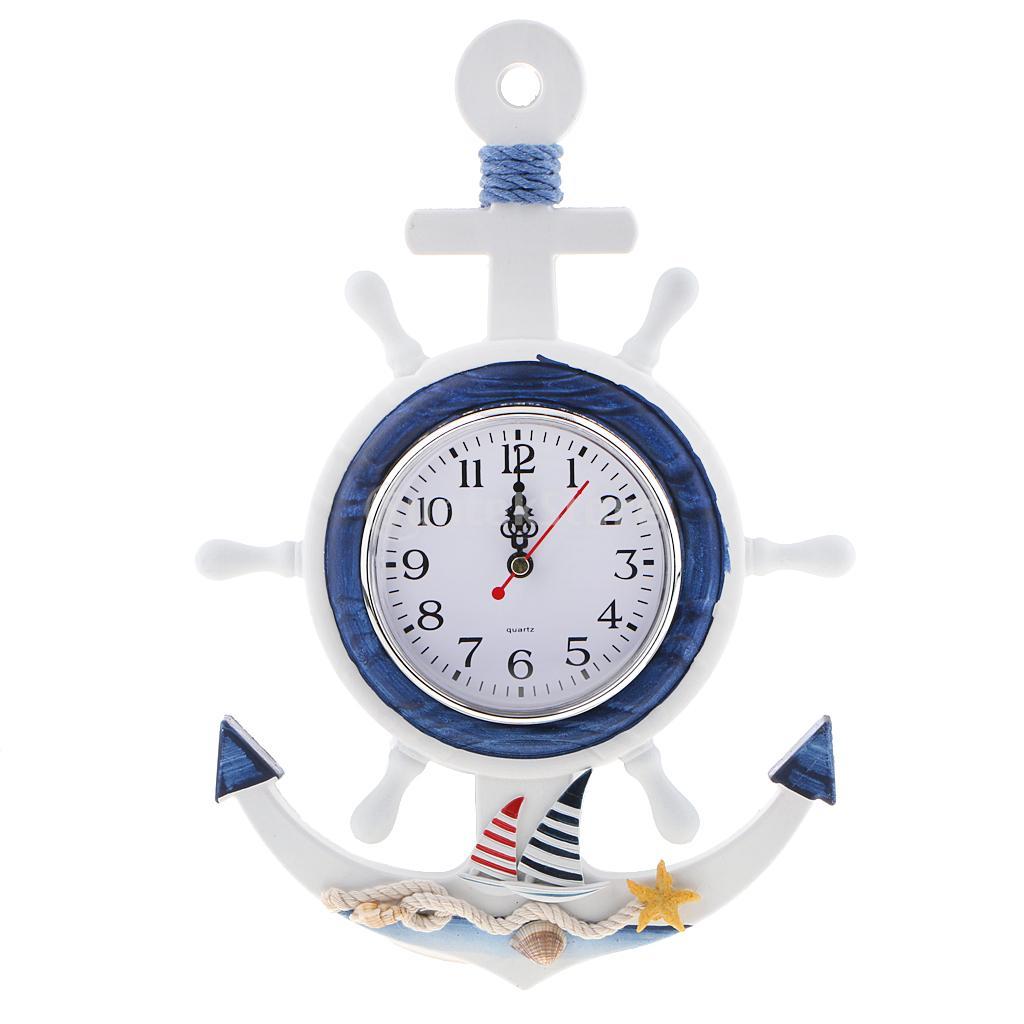 Sea Beach Naudical Themed Anchor Clock Wall Hanging Decor Ornament Home Time Wall Decor 33cm
