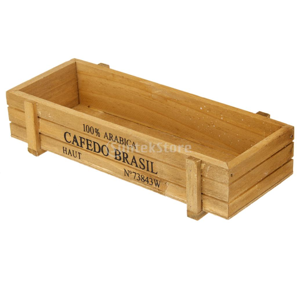 Natural Rectangle Wooden Succulent Plant Flower Bed Pot Box Garden Planter Free Shipping(China (Mainland))