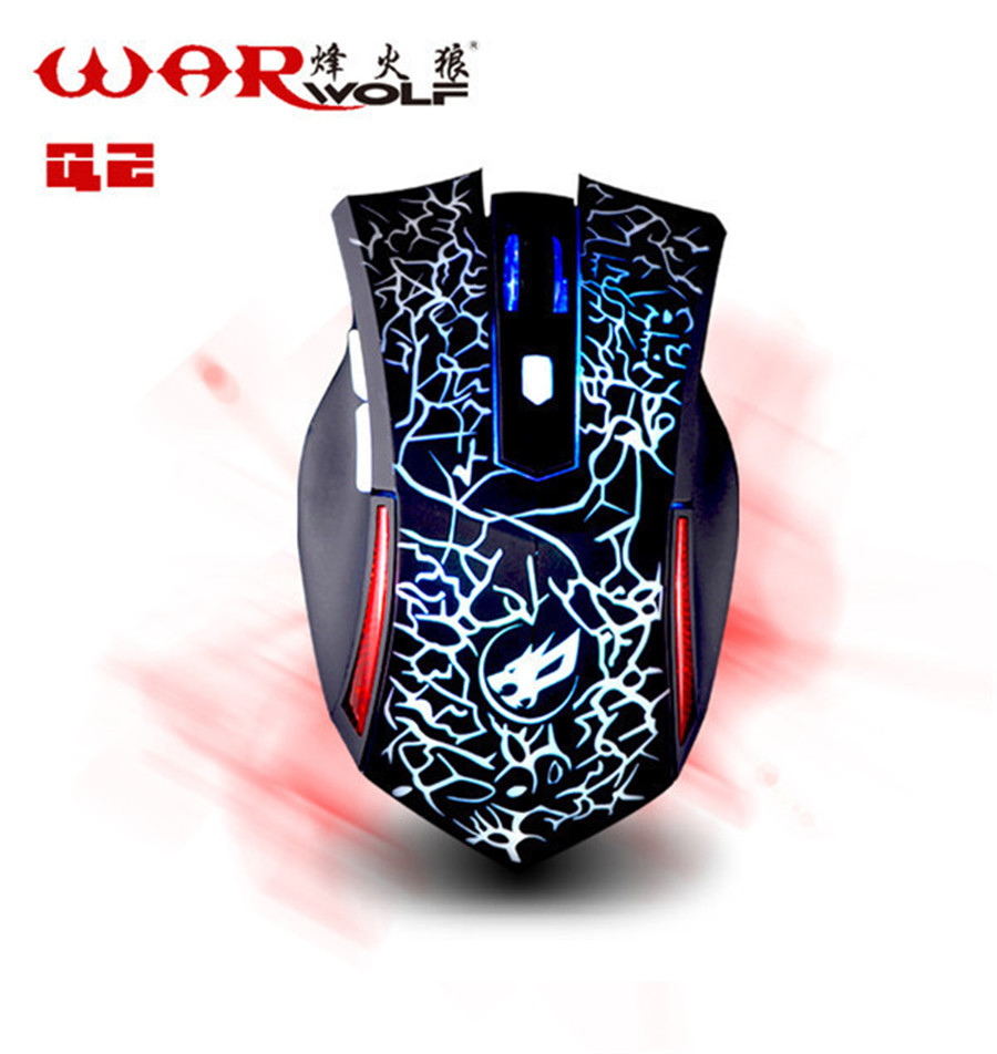 Warwolf Q2 6D Professional gaming mouse USB Adjustable Optical Wired muis colorful LED Lights mause for gamer Laptop Desktop PC(China (Mainland))
