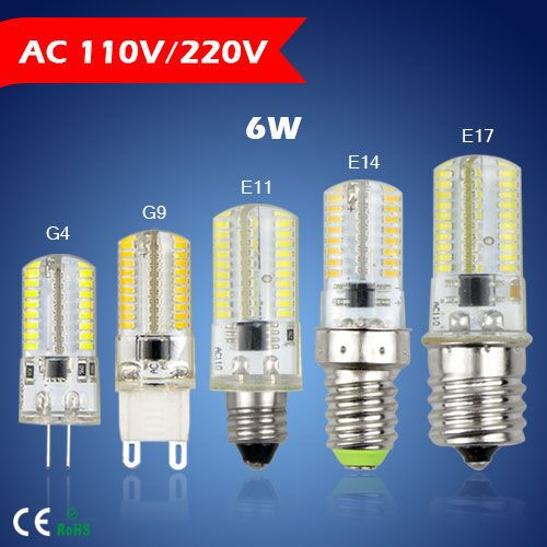 1Pcs 110V / 220V G9 G4 E11 E14 E17 6W 64 LEDs Crystal lamp High End Silicone Body 3014SMD LED light Bulb For Chandelier(China (Mainland))
