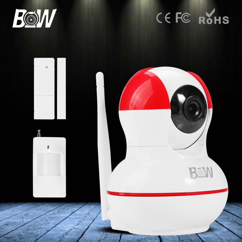 BW 720P HD IP Camera WiFi GSM + Door & Infrared Motion Sensor GSM Alarm Wireless Surveillance CCTV IR-Cut Support iOS,Android(China (Mainland))