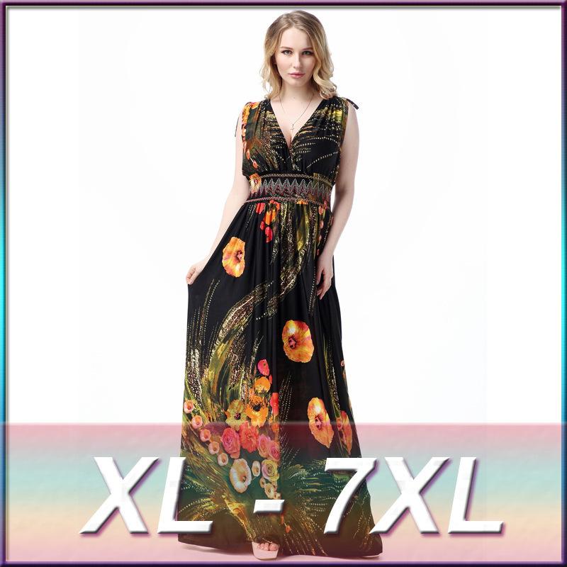 2016 Womens Summer Elegant Boho Beach Clothing Ladies Bohemian Print Maxi Long Dress Plus Size 6XL 7XL Vestidos 5015(China (Mainland))