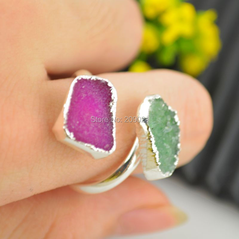 6pcs Druzy Drusy Quartz Ring Silver plated Double Agate Stone Jewelry Finding Rings