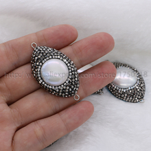 Natural pearl pendant beads Big round pave cz as eye shape double bails druzy finding handcrafted