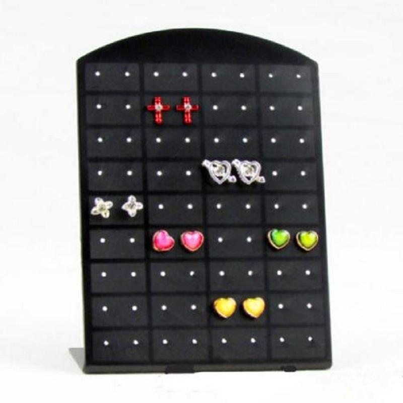 New Fashion 72 Holes Earrings Ear Studs Jewelry Show Black Plastic Display Rack Stand Organizer Holder Showcase Christmas(China (Mainland))