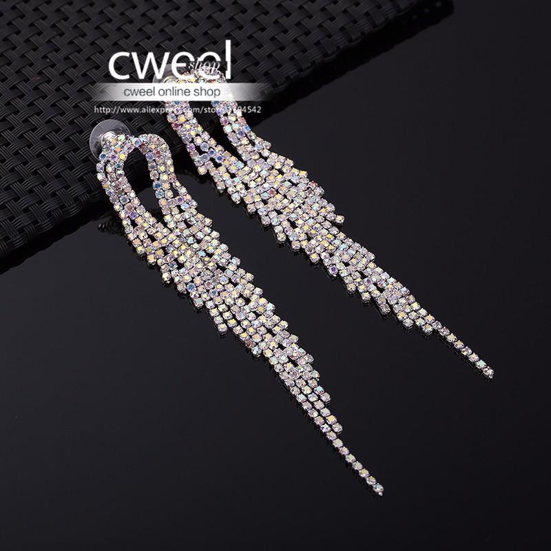 Серьги длинные свадебные с кристаллами фото