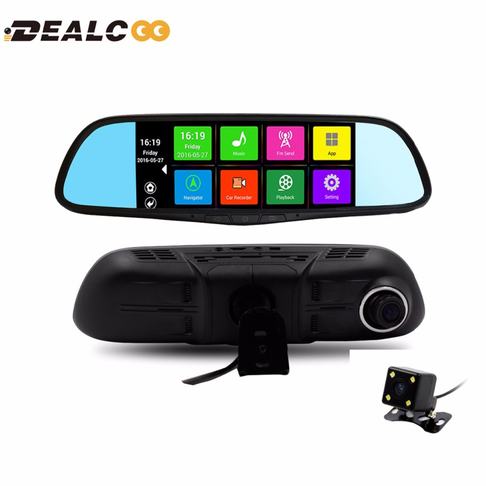 7 inch Dual Lens Car DVR Rearview Mirror Camera GPS Android 4.4 Bluetooth A33 Quad-core Full HD 1080P GPS Navigation 1GB 16GB(China (Mainland))