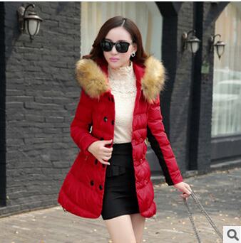 2015 Jacket Women Winter Coat Thicken Slim Female Faux Fur Collar Hood Long Parka Plus Size DM1906