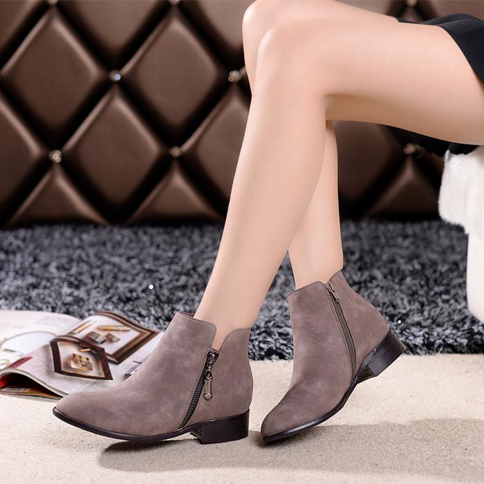 Autumn winter women boots casual fashion scrub genuine leather shoes ankle double zipper short flat heel - JIUJIU Store store