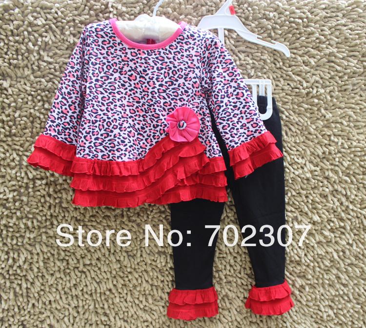 Wholesale - leopard flower cute suit, long sleeve t shirt + Pants,baby set ,baby wear free shipping FY-9<br><br>Aliexpress