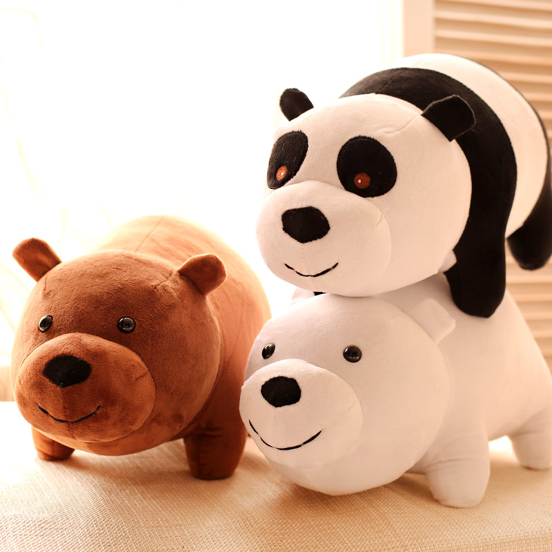The three of us 2015 Cartoon Bear Luoxiong, grizzly bear panda plush toy doll, doll birthday gift(China (Mainland))