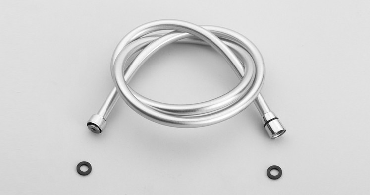 Free shipping 1.5m Basons plumbing hose explosion-proof pvc silver gray shower pipe spirally-wound shower water pipe SH070(China (Mainland))