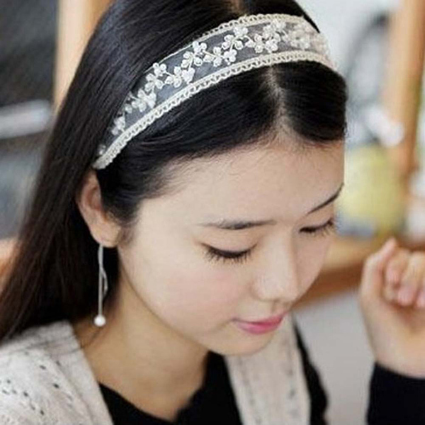 Free shipping Beautiful Girl's Festival Lady Lace Pearl Beads Headband Hairband Elastic Hair accessiors Black And White Color(China (Mainland))