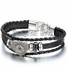 Vintage Women Alloy Black Leather Bracelet Bangle Heart Charm Surfer Bracelet Multilayer Braided Bracelets For gift 8.3 inch(China (Mainland))