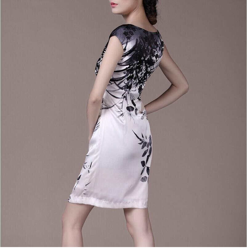 brand designer Silk floral print dress for women 2015 summer style new Vintage vestido de festa plus size bodycon female dress(China (Mainland))