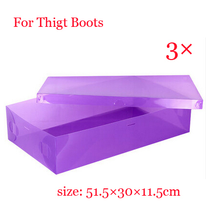 Free shipping 3 x Hot sale Clear Plastic Shoe Thigt Boots Box Stackable Foldable Storage Organizer Violet color(China (Mainland))