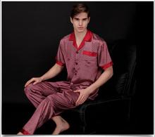 2015new  men's faux silk two-piece sets pajamas short sleeve nightwear cool sleepwear home clothing(China (Mainland))