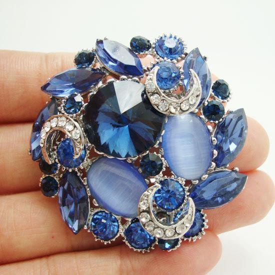 Unique Chic Wreath Flower Pin Brooch Blue Rhinestone Crystal Cheap Rhinestone Pendant(China (Mainland))