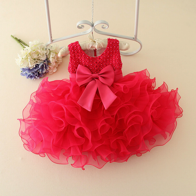 Lovely Cute Toddler Birthday Party Dress Girl 1 2 3 4 Years Red White Pink Purple Flower Girl Tutu Dresses Wedding Gowns 2016(China (Mainland))
