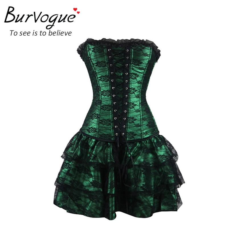 2014 Hot Sale המחוך ואת מחוך תחרה ערב נשים מזדמנים dressr גודל פלוס לדחוף את גותי מחוך השמלה עם החצאית שני צבעים