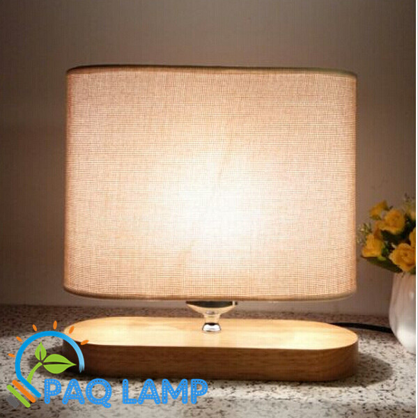 Modern table lamp wood light led light linen Cloth lamp shade oak wood oval base bed room Office table lamp(China (Mainland))