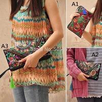 2014 Hot New 1pc Women Ladies Bag Handbag Purse Retro Embroidered Phone Change Coin  H4117 P