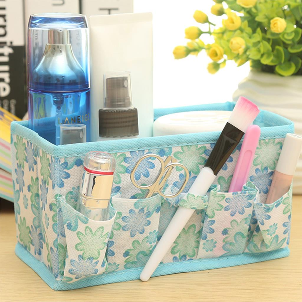 Korean Multifunction Folding Non-woven Make Up Cosmetic Storage Box Organizer Jewelry Container Bag Case Random Color(China (Mainland))