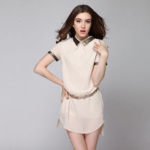 Women Dress 2016 Summer Fashion Sexy hight quality peter pan collar short Sleeve Ruched Wrap Front Dress Clothing Vestido