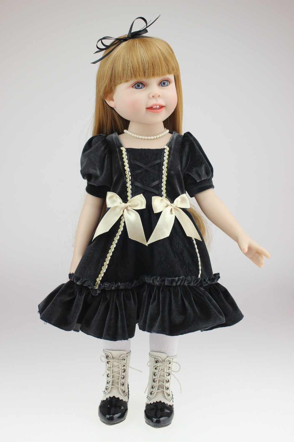 45 cm Silicone Reborn Baby Dolls Real Mini Love Doll Boy Girl Reborn babies black dress kids gift toys(China (Mainland))
