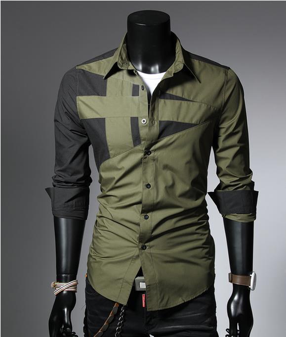 Mens fashion cotton designer cross line slim fit dress man Designer clothing for men online sales